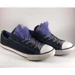 🔮 Converse Tulle Black Purple Silver 6Y